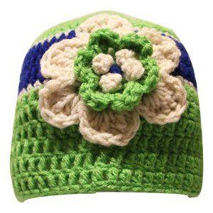 🆕Hand-Crocheted Green, Blue & Cream Flower Beanie